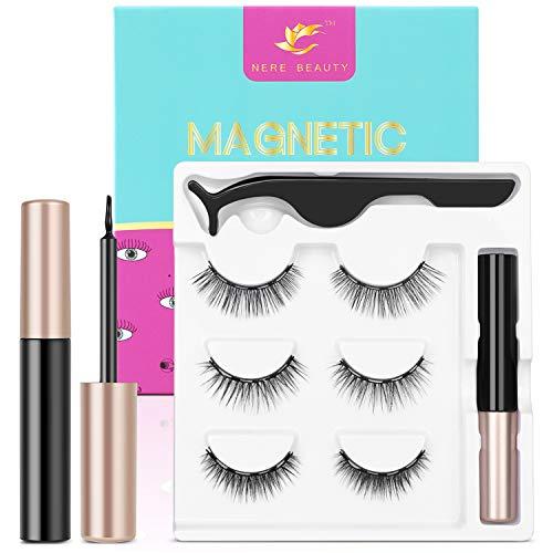 2020 Upgraded Magnetic Eyelashes and Eyeliner Kit Premium Magnetic Eyelashes with Tweezers Athena Natural Look Reusable False Lashes with Applicator 3 pairs NERE BEAUTY