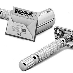 Bigfoot Shaves I Butterfly Open Double Edge Single Blade Safety Razor Kit I Classic Razor I Smooth Shave Without Razor Burns I Excellent Gift Idea I Includes Travel Case, Mirror & Blades I Silver