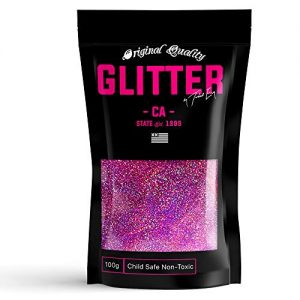 Pink Holographic Premium Glitter Multi Purpose Dust Powder 100g / 3.5oz for use with Arts & Crafts Wine Glass Decoration Weddings Cards Flowers Cosmetic Face Body Nails (Packaging May Vary)