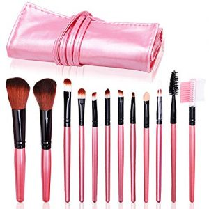 Ronzi Makeup Brush Set 12 pcs with Case, Premium Synthetic Brush for Women, face Cosmetic brush for Foundation Eye Shadow Blush Concealer Cruelty-Free Fiber Bristles PU Leather, Pink