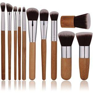Oneleaf Premium Synthetic Makeup Brushe Set,Bamboo,Blush,Foundation,Concealers,Kabuki,Eyebrow,Eyeshadow, Eyeliner,Bronzer,Lip,Face,Blending Cosmetic(Powder&Cream)11-pcs