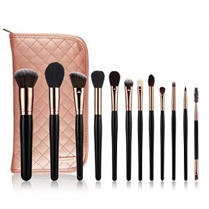 KRAUMETIK 12-Piece Makeup Brushes Set,Premium Synthetic Brush Blending Face Powder Blush Concealers Eye Cosmetics Make Up Kits