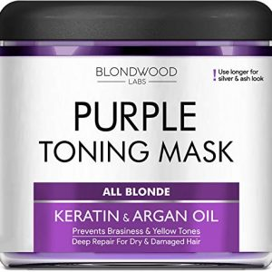 Purple Hair Mask with Retinol & Keratin for Blonde, Platinum & Silver Hair - Made in USA - Banish Yellow Hues, Reduce Brassiness & Condition Dry Damaged Hair - Goes Well with Purple Shampoo - 8 oz