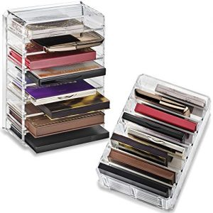 Acrylic Palette Organizer (Small Sized Palettes) & Beauty Care Holder Provides 8+ Space Storage | (Clear) Makeup Organizer by Premium Beauty Organization