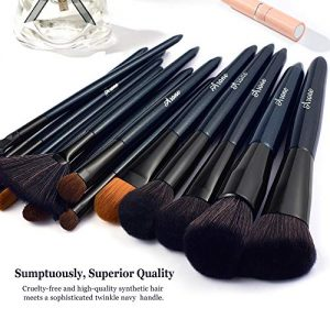 Makeup Brushes Set, Arone 16pcs Premium Cosmetic Brush for Concealer Eye Shadow Foundation Blending Blush, Synthetic Fiber Bristles, Included Gift Box Roll Clutch, Blue