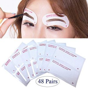 EBANKU 24 Styles Quick Makeup Eyebrow Stencils, 48 Pairs Non-Woven Eyebrow Shaping Stencils, Multiple Mixed Shapes Eyebrow Template Stickers DIY Makeup Guide Template Tools