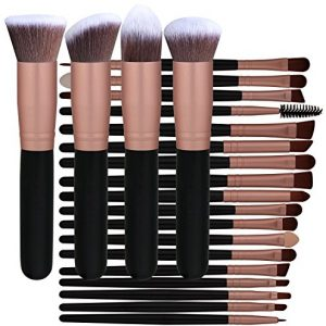BS-MALL Professional 22 Pcs Rose Golden Make up Brushes Set - Cosmetic Eyebrow Shadow Lip Face Brushes Kit - Beauty Blending for Powder & Cream - Bronzer Concealer Contour Brush