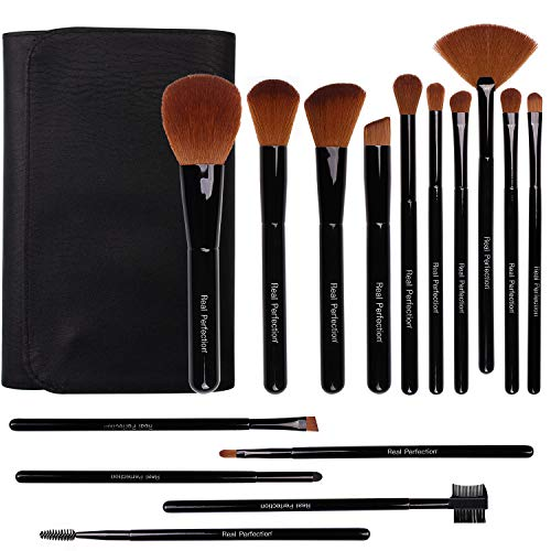 Makeup Brushes, Real Perfection 15pcs Premium Cosmetic Makeup Brush Set for Foundation Blending Blush Concealer Eye Shadow, Cruelty-Free Synthetic Fiber Bristles, Travel Makeup bag Included