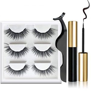LKKRO Magnetic Eyeliner and False lashes Kit, Magnetic Eyeliner for Magnetic Lashes Set, With Reusable Lashes, Mink Eye Lashes, Stay All Day Waterproof Liquid Eyeliner Black [3 Pairs]