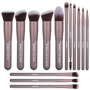 BS-MALL(TM) Makeup Brushes Premium 14 Pcs Synthetic Foundation Powder Concealers Eye Shadows Silver Black Makeup Brush Sets (Ypurple)
