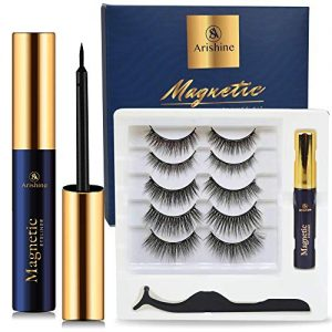 5 Pairs Reusable Magnetic Eyelashes and Magnetic Eyeliner Kit, Upgraded 3D Magnetic Eyelashes Kit With Tweezers Inside, Magnetic Eyeliner and Magnetic Eyelash Kit - No Glue Needed