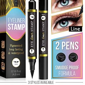Eyeliner Stamp – Winged Eyeliner in Seconds – Easy to Use, Waterproof & Smudge Proof, Long Lasting Liquid Black Eye Liner Pen,Cruelty Free,Vegan & Paraben Free - for Perfect Cat Eyes - Classic (10 mm)