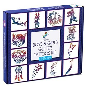 INGALA PREMIUM Glitter Tattoo Kit for Boys and Girls | Unique Professional Glitter Tattoos for Kids and Adults | 74 Amazing Glitter Tattoo Stencils | 2 XL (0.5fl oz) Glitter Tattoo Glue. By Ingala