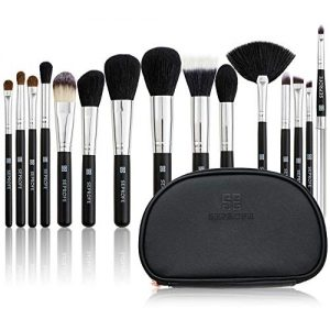 SE SEPROFE Makeup Brushes Set 15 Pcs Premium Synthetic Foundation Powder Concealers Eye Shadows Makeup Brush Sets with Portable Cosmetics Travel Bag Black