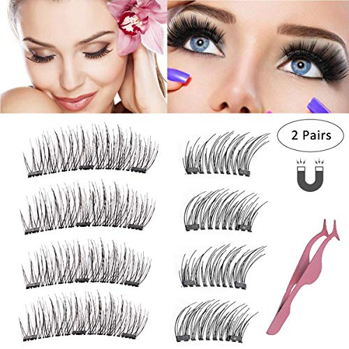 Magnetic False Eyelashes,Reusable Full Size 3 Magnet Lashes Glue-Free 3D Dual Magnetic Lashes, 0.2mm Ultra Light Weight Lashes with Natural Look & Premium Quality with Tweezers(2 Sets)