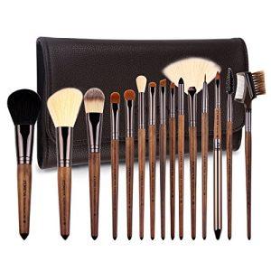 ZOREYA Makeup Brush Set,15pcs Unique Walnut Makeup Brushes with Nobility,Professional Premium Synthetic Foundation Powder Concealers Eye Shadows Makeup brushes Set with Perfect Vegan Leather Bag