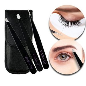 VAGA Set of 3pcs Precise Tweezers, Made of Stainelss Steel, Slant, Sharp and Straight, Black Color in Protective PU Bag for Eyebrows, Ingrown Hair Plucking, Splinters Removal and Crafting
