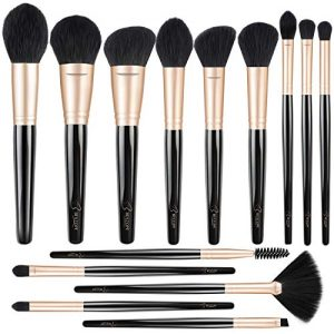 BESTOPE Professional Makeup Brushes Premium Synthetic Cosmetic Brush Set Kit for Blending Foundation Powder Blush Concealer Highlighter Eyeshadows(Black Gold Luxury Series)