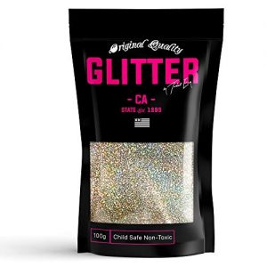 Silver Gold Holographic Premium Glitter Multi Purpose Dust Powder 100g / 3.5oz for use with Arts & Crafts Wine Glass Decoration Weddings Cards Flowers Cosmetic Face Body (Packaging May Vary)