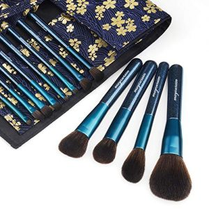 Makeup Brush Set with Travel Bag Case, 12pcs Premium Cosmetic Makeup Brushes for Foundation Blending Blush Concealer Eye Shadow Professional Makeup Kit