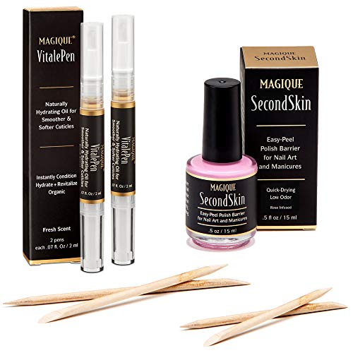 Nail Art Liquid Latex Barrier Bundle with Cuticle Oil Pens – Magique SecondSkin & Magique VitalePen