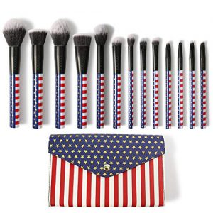 Docolor Makeup Brushes 13PC Stars & Stripes Makeup Brush Set With Case Premium Synthetic Kabuki Foundation Blending Face Powder Mineral Eyeshadow Make Up Brushes Set With Travel Bag Gift Box Set