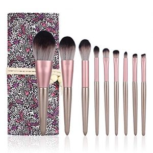 Abhay Professional Makeup Brushes Set, 9pcs Premium Cosmetic Makeup Brush Foundation Liquid Powder Concealers Eye Shadows Brushes (Brush bag set)