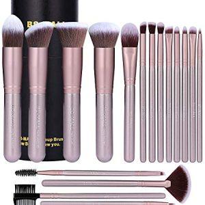 BS-MALL Makeup Brush Set 18 PCS Premium Synthetic Kabuki Foundation Eyebrow Eyeshadow Concealer Blending Eyeliner Comestic Brushes Champagne (Purple Silver)