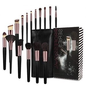 MX C.Y Beauty Makeup Brushes Set, Professional Premium Makeup Brush Set Natural Goat Synthetic Cosmetics Kabuki Foundation Eyeshadow Eyeliner Concealer Powder Brush Kit with Pouch (Black) …