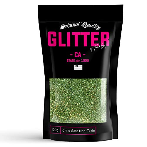 Light Green Holographic Premium Glitter Multi Purpose Dust Powder 100g / 3.5oz for use with Arts & Crafts Wine Glass Decoration Weddings Cards Flowers Cosmetic Face Body (Packaging May Vary)