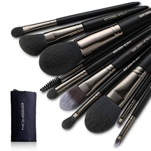Eigshow Makeup Brushes, Black Luxury Series Professional Premium Synthetic Cosmetic Brushes Set Kit for Blending Foundation Powder Blush Concealer Highlighter Eyeshadows B (Vegan 10pcs Nickel-plated)