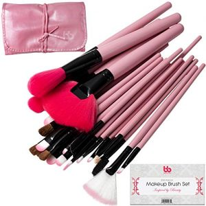 Professional Cosmetic Makeup Brushes Set - Beauty Make Up Face Kit Eyeshadow Foundation Eyeliner Bronzer Concealer Contour Brush for Blending Powder & Cream With Organizer Holder Case 24 Piece Pink