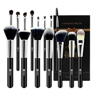 FEIYAN Professional 15 Pcs Makeup Brush Set Premium Synthetic Kabuki Cosmetics Eye Face Lip Foundation Blending Blush Powder Liquid Cream Brush Kit with Bag (Black)