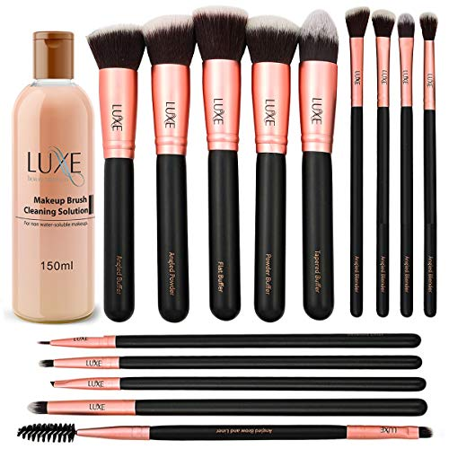 Luxe Premium Makeup Brushes Set with Brush Cleaning Solution - 14 Pc Face and Eye, Synthetic Brushes for Foundation, Powder, Blush, and Eyeshadow