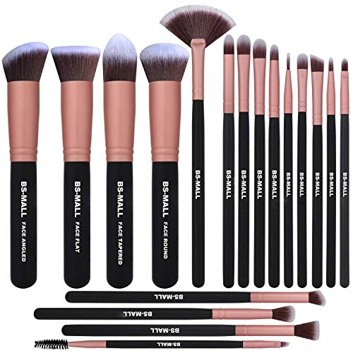 BS-MALL Makeup Brushes 18pcs Premium Synthetic Professional Eye Brushes Kit for Blending Eyeshadow Concealer Eyeliner Eyebrow(Rose Gold)