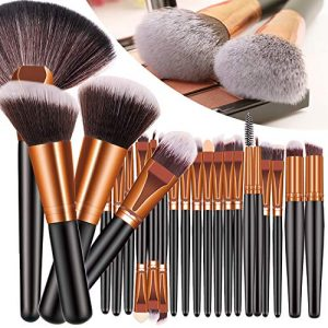 23PCS Premium Makeup Brushes, Fan Foundation Powder Kabuki Brushes, Eye Shadows Make Up Brushes Kit, Premium Synthetic Concealers Brush