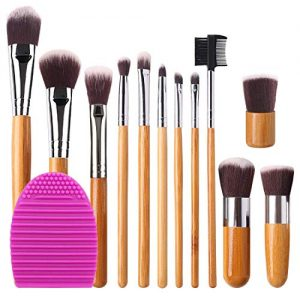 BEAKEY 12+2 Pcs Makeup Brush Set, Premium Bamboo Handle Synthetic Bristles, Kabuki Foundation Eyeshadow Concealer Powder Brush Kit (12 Pcs Bamboo Brushes + 1 Pc Brush Cleaner Egg + 1 Pc Cloth Bag)