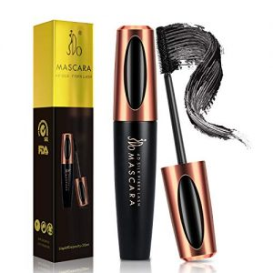 JDO Mascara Waterproof Black Mascara 4D Silk Fiber Lash Mascara Smudge-proof Long Lasting for Lengthening Voluminous Eyelashes Charming Eye Makeup No Clumping No Flaking