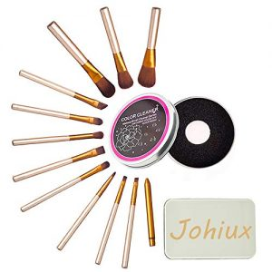 Johiux 12 Pcs Makeup Brush Set, Brush Cleaner, Premium Synthetic Make Up Brushes, For Foundation Powder Blush Concealer Eye Shadow Makeup Brush Kit with Makeup Brush Color Removal Sponge.