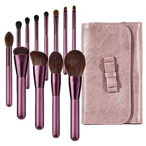 Makeup Brushes set Violet 12Pcs Professional tools Foundation Powder Highlight Blush Blending Eyebrow kit bag Soft Premium Synthetic Hairs Wood Handle Fashion Cosmetics face Travel Essentials