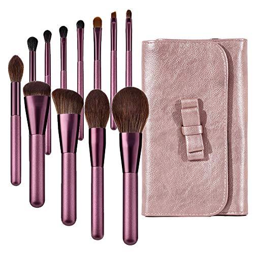 Makeup Brushes set Violet 12Pcs Professional tools Foundation Powder Highlight Blush Blending Eyebrow kit bag Soft Premium Synthetic Hairs Wood Handle Fashion Cosmetics face Travel Essentials