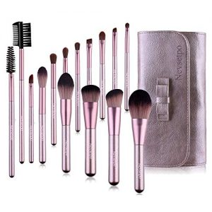 Make Up Brush Set Professional NEVSETPO Premium Synthetic Kabuki Foundation Concealer Powder Makeup Brushes Gift Set with Travel Makeup Organizer Purple