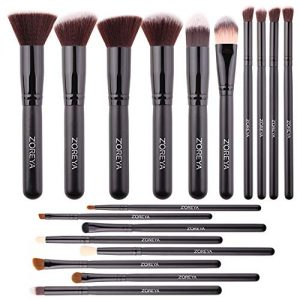 Makeup Brushes Set Zoreya 18PCS Makeup Brushes Premium Cosmetic Brushes Synthetic Blending Blush Foundation Powder Concealers Eye Shadows Makeup Brush With Carrying Travel Bag Organizer