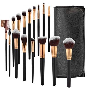 SOLVE Makeup Brushes 16 Pcs Premium Synthetic Foundation Blending Blush Concealer Eye Shadow Makeup Brush Set,Leather Travel Makeup bag Included, Black with Rose Gold