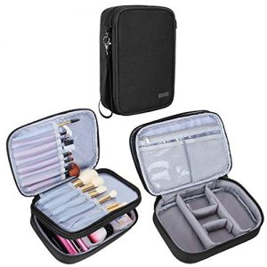 "Teamoy Travel Makeup Brush Case(up to 8.8""), Professional Makeup Train Organizer Bag with Handle Strap for Makeup Brushes and Makeup Essentials-Medium, Black(No Accessories Included)"