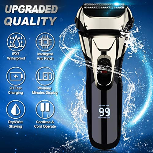Electric Razor, Electric Shavers for Men, Dry Wet Waterproof Mens Foil shaver, Portable Facial Cordless Shaver Travel USB Rechargeable with Pop-up Trimmer LED Display for Shaving Husband Dad
