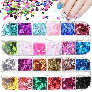 Mukum 24 Color Butterfly Nail Glitter Sequins 3D Nail Art Flakes Glitter Sticker Make Up DIY Decals Decoration for Face Body Eye Hair Nail Art Powder