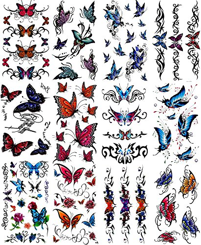 Premium Body Paints Glitter Temporary Tattoos Stickers Assorts of Sheets Waterproof Brightly Colored Long Lasting (B-12pc)
