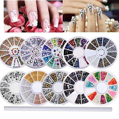 10 Wheels nail art decor accessories Nail Rhinestones Premium Manicure Nail Art Decorations Nail Tools with 1 Pcs Rhinestone Picker