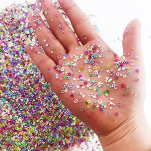 Amersumer 7.2oz/200g Multicolor Manicure Glitter Confetti,Mixed Shapes Size 2-4mm for Party Decoration,DIY Crafts,Premium Nail Art Etc